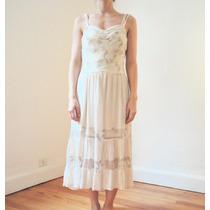 Vestido Largo Combinado Crepe Georgette - Tul Bordado