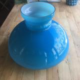 Tulipa Plafon De Vidrio Azul Vintage Apto Led Remato Venzar