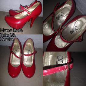Zapatos Tacones Rojos Talla 36 Altos Bellos