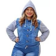 Jaqueta Jeans Com Moletom Plus Size Blusa Feminina Com Capuz