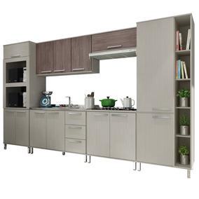Cozinha Modulada 6 Peças - Visão Palatare Bm108 Aspen/ébano