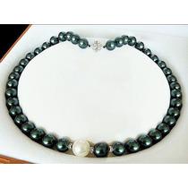 Collar De Perlas Jade Negras Con Blanco