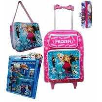 Mochila Escolar Infantil Rodinhas Kit Frozen Lancheira Cod 8