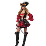 Fantasia Feminina Pirata Luxuosa - Chapéu Incluso