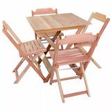 Jogos De Mesas Bar 70x70 C/ 4 Cadeiras Dobrável Em Madeira