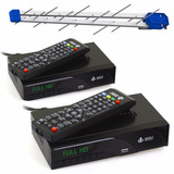 Kit 2 Conversor Digital Tv Hdmi 1080p + Antena Externa Hdtv