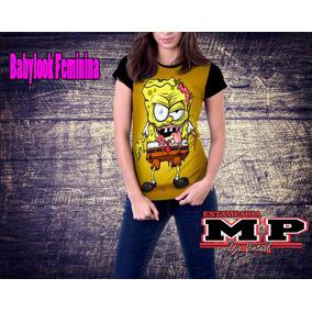Camiseta Feminina Cartoon/anime/bob Esponja/bob/zumbie - 24