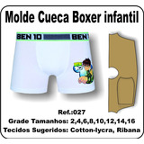 Molde De Cueca Boxer Infantil S/costura Lateral 027