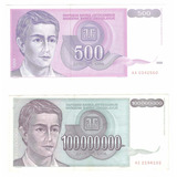 2 Billetes Yugoslavia 100,000,000 Y 500 Dinara (1993 Y 1992)