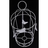 Gaiola Decorativa Em Metal Aplique Borboleta Porta Vaso G