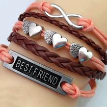 Pulseira Feminina Best Friend Corações Infinito