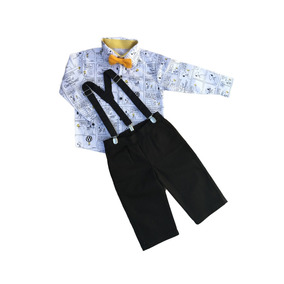 Conjunto Snoopy: Calça + Camisa + Suspensório + Gravata