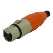 Ficha Xlr Hembra Canon Cable Naranja Amphenol Ac3f-red