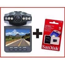 Câmera Veicular Filmadora Visor Lcd Dvr + Cartão De 16gb Pro