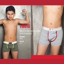 Boxer Niños Pack X 2 Talle 8al12 100% Algodon Acrobata Nene
