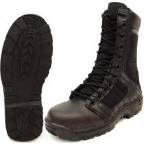 Botas Tipo Swat Militar Ligera 100% Piel Trabajo Kaki Negro