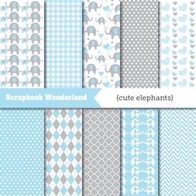Kit Imprimible Fondos Elefantes Bebé Azul Gris Baby Shower