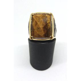 Anel Dourado Com Pedra Natural Olho De Tigre