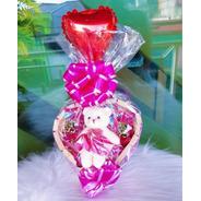 Cesta De Chocolate Coração Mini Ursinho Presente Namorada
