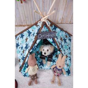 Teepee Casa Tela Tienda Campaña Perro Gato Cama Azul