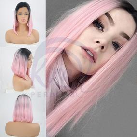 Front Lace Rosa Com Raiz 35cm Long Bob Lisa Fibra Futura