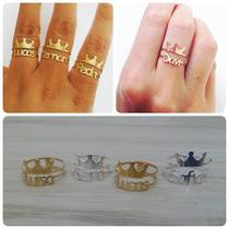 Anel De Nome Personalizado Com Coroa - Prata Banhado A Ouro