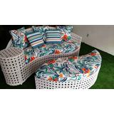 Sofa Com Puff Para Area Externa Piscina Sala Varanda Jardim