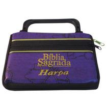 Bíblia Pequena Com Harpa - Capa Maleta Zíper Roxa Folha