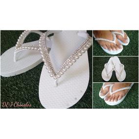 Sandália Chinelo Noiva Bordado Com Pérolas