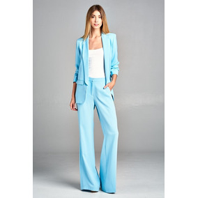 Pantalon Azul Tiro Alto De Vestir Casual Palazzo Ancho 30