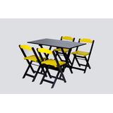 Conjunto Mesa Dobravel 4 Cadeira Acai Restaurante Sorveteria