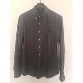 Camisa Negra A Cuadros Polo Ralph Lauren Xl Slim Fit Stretch