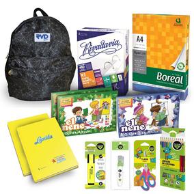Mochila Primaria + Kit Escolar + Resma Boreal A4 De 75gr