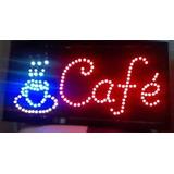 Cartel Luminoso Led Palabra Cafe 48 X 25