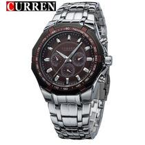 Relógio Masculino Curren De Quartzo De Aço/prata - Importado