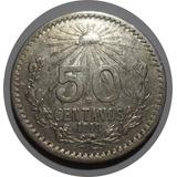 50 Centavos 1918 República Mexicana - Plata Ley 0.800 -clave