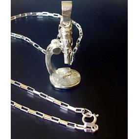 Cadena Y Dije Microscopio Quimica Biólogia Ciencia Plata Ley