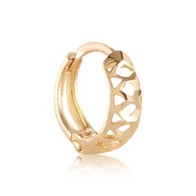 Piercing Em Ouro 18k Trava Orelha Diamantado Vazado