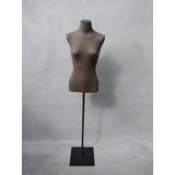 Busto Manequim Feminino Forrado Tecido Com Pedestal Metal