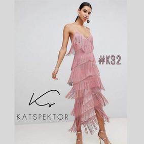 Vestido Largo De Fiesta Con Flecos De Seda Katspektor #k32