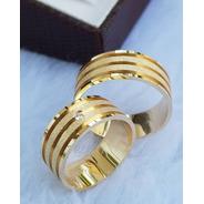 Alianças Ouro 18k Retas 3 Frisos 7mm 13gr Com 1 Diamante