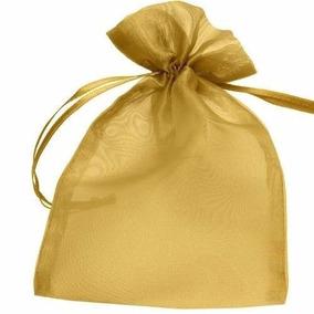 100 Saquinhos De Organza 9x12 Cm - Dourados