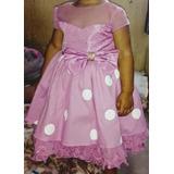 Vestido Minnie Rosa/branco C/ Sapatinho Rosa + Bolo Fake