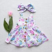 Vestido Bebe Importado Infantil Verão Branco Floral