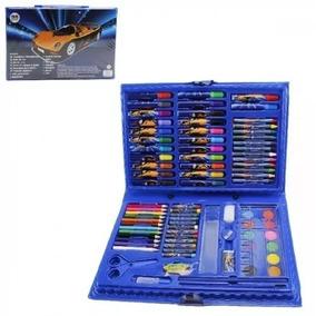 Kit Infantil Para Pintura Desenho Pincel Canetinhas Giz Cor