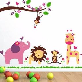 vinilo decorativo infantil arbol selva mono lechuza jirafa