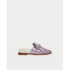 Zapatos Mocasìn Destalonado Cuero Metalizado Pelo Zara New