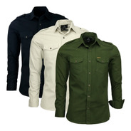 Kit 03 Camisas Masculina Slim Paris M Longa Estilo Militar