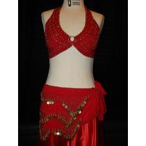 Roupa Vermelha E Dourada De Dança Do Ventre Saia Não Inclusa