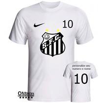 Camiseta Camisa Blusa Time Santos Personalizada Com Nome!!!